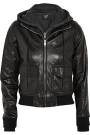 R13 Hooded washed-leather and jersey biker jacket