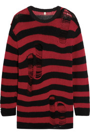 R13 Shredded striped cashmere sweater
