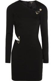 Versus Cutout safety pin-embellished jersey mini dress