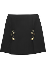 Versus Safety pin-embellished crepe mini skirt