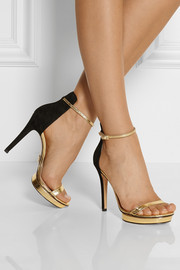 Michael Kors Doris cracked metallic leather and suede sandals