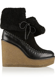 Coach Shearling-lined suede and leather wedge ankle boots