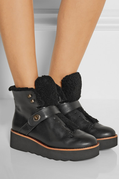 b82ffa05359 Urban Hiker shearling-trimmed leather boots