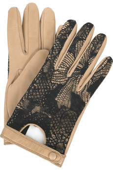 3.1 Phillip Lim Lace-detailed leather gloves