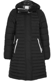 Hooded shell-faille down coat