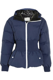 Hooded shell-faille down jacket