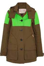 Hunting neon-paneled cotton-canvas coat