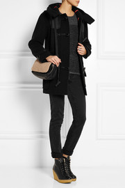 Hunter Original Leather-paneled wool-blend felt duffle coat