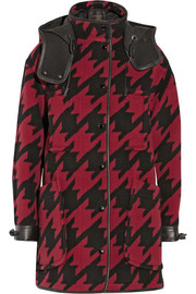 Coach Leather-trimmed houndstooth wool-blend parka