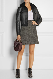 Coach Shearling-trimmed leather biker jacket