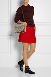 Coach Leather-trimmed wool mini skirt