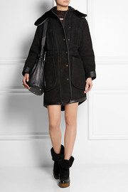 Coach Leather-trimmed shearling parka
