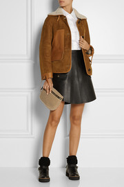 Coach Leather-trimmed shearling hooded coat