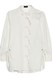 Coach Tie-detail cotton and linen-blend shirt