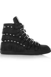 Giuseppe Zanotti Fringed studded leather wedge sneakers