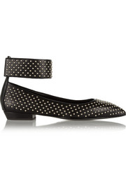 Studded leather point-toe flats
