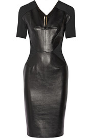 Roland Mouret Nabis paneled leather and crepe dress