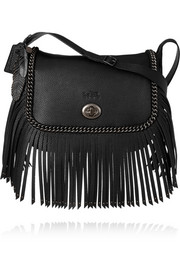 Coach Dakotah fringed textured-leather shoulder bag
