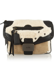Coach Rhyder shearling, suede and textured-leather clutch