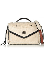 Coach Rhyder leather-trimmed shearling shoulder bag