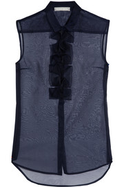 Richard Nicoll Origami-detailed silk-organza top