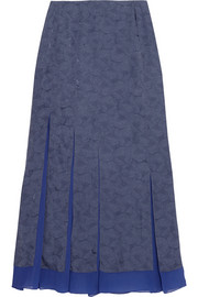 Richard Nicoll Floral-jacquard and silk-chiffon maxi skirt