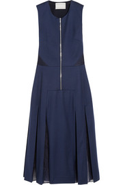 Richard Nicoll Silk organza-paneled wool-blend flannel dress
