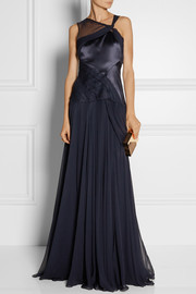 Prabal Gurung Draped silk-satin and chiffon gown