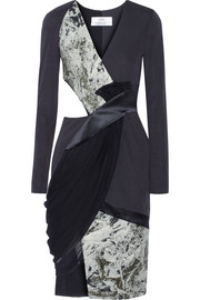 Prabal Gurung Paneled jacquard, crepe, satin and chiffon dress