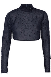 Prabal Gurung Cropped embellished silk-chiffon top