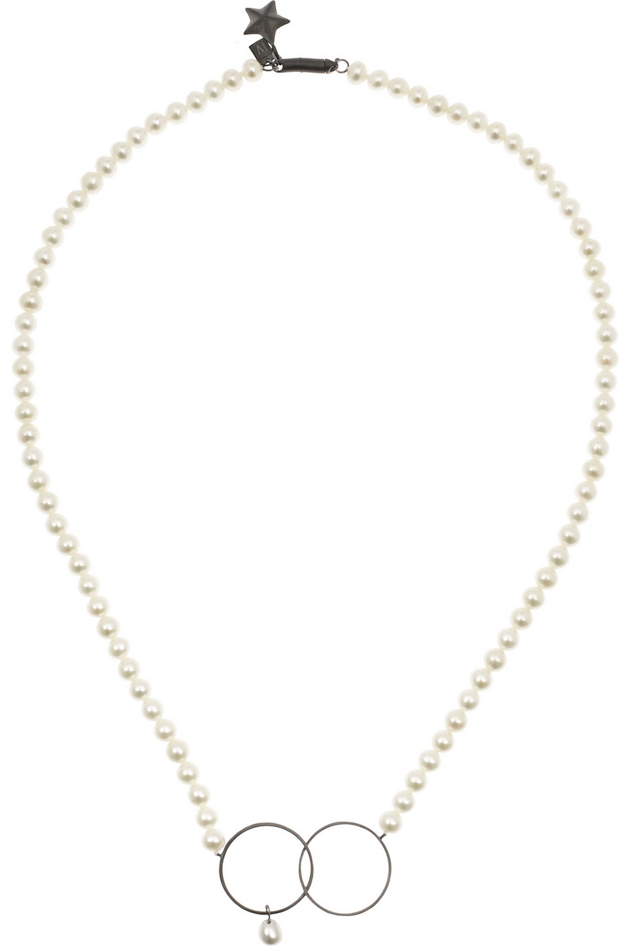 Pearl and Oxidized Silver Necklace, Inez and Vinoodh, Off-White, Women's