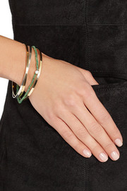 Inez and Vinoodh 18-karat gold, emerald and pearl interlinked bracelets
