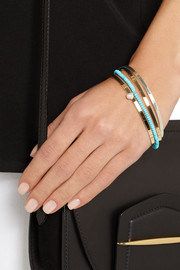 Inez and Vinoodh 18-karat gold, turquoise and pearl interlinked bracelets