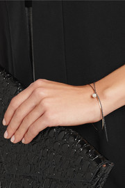 Inez and Vinoodh 18-karat rose gold, oxidized silver and pearl interlinked bracelets