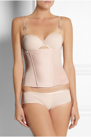 Comfy Corset satin and stretch-mesh corset
