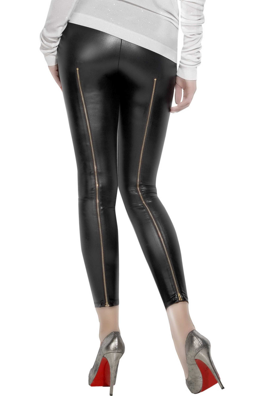 Kova & T Cropped wet-look leggings