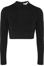 Jonathan Simkhai Cropped embossed stretch-jersey top