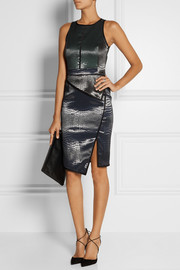 Jonathan Simkhai Paneled croc-effect jacquard dress