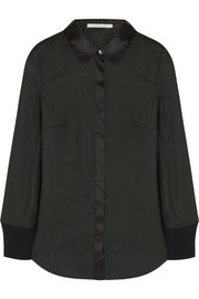 Silk-trimmed twill shirt