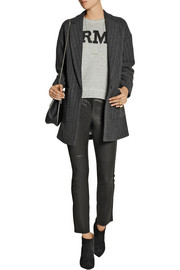 Carson pinstriped wool-blend coat