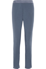 Satin-trimmed stretch-modal pajama pants