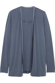 Satin-trimmed stretch-modal pajama top