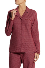Plaid cotton-flannel pajama top