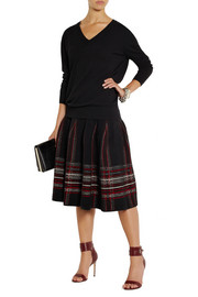 M Missoni Plaid stretch-terry midi skirt