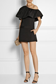Haney Anita ruffled stretch-silk crepe playsuit