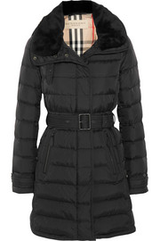 Burberry Brit Shearling-trimmed quilted shell coat