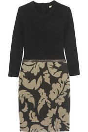 Burberry Brit Leather-trimmed wool and jacquard dress