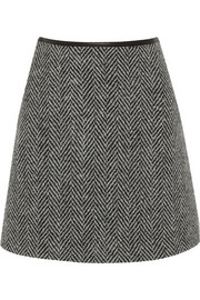 Herringbone wool-tweed mini skirt