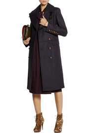 Burberry London Leather-trimmed wool-blend coat
