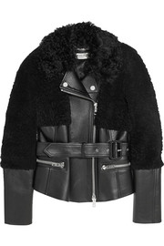 Burberry London Shearling-paneled leather biker jacket